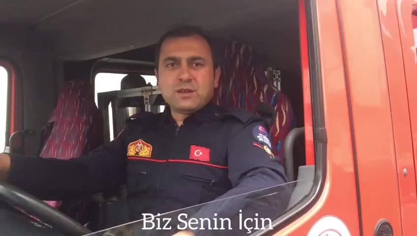Trabzon İtfayesi Akçaabat Grup Amirliği'nde Koronavirüs mesajı: Gurban olayım #evdekal