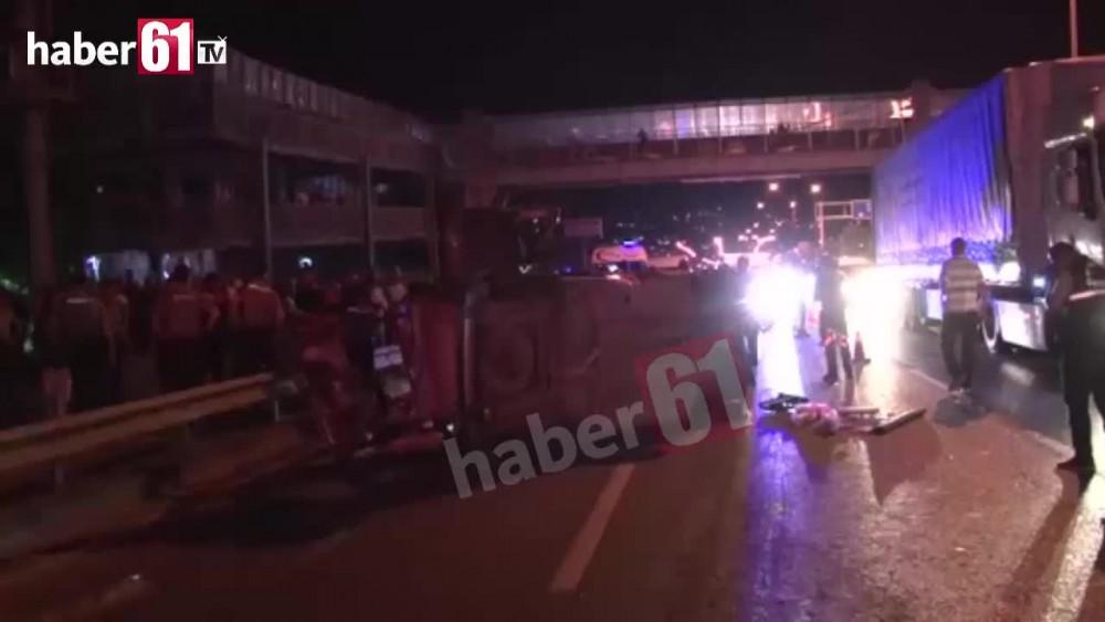 Trabzonda feci kaza : 1 ölü 14 yaralı