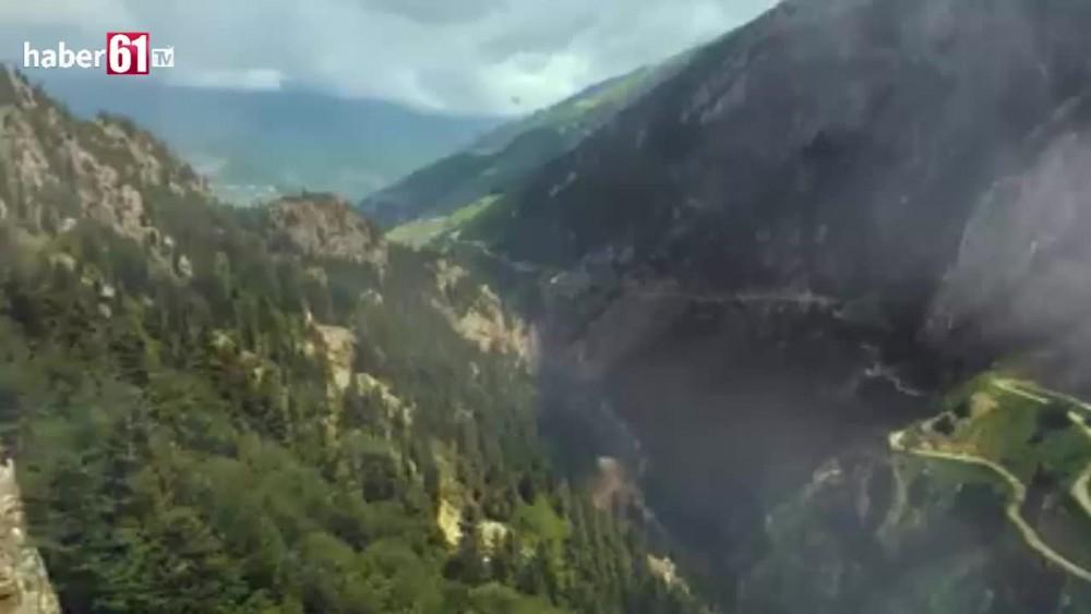Trabzon- Bayburt sınırındaki en tehlikeli yolda nefes kesen anlar